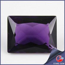Rectangle Shape Lab Amethyst Artificial Quartz Gemstone For Jewerly