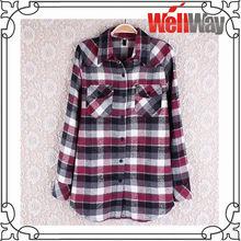 women fashion check plaid designs shirt
