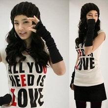 Yiwu Korea's new winter warm fashion long fingerless winter gloves women