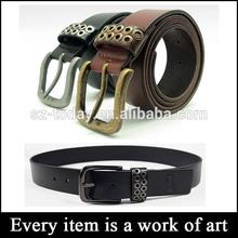 metal eyelet casual top designer mens belts pure used leather belt men