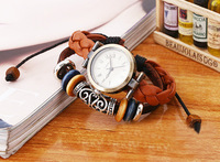 2014 most popular genuine leather watches men wrist watch