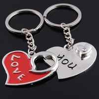 Unique heart love zinc alloy metal paired key chain lovers couple keychains keyrings for kids birthday party supplies