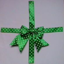 Green Dotted Imprint Handmade Satin Ribbon Bows Tie for Paper Box Wrapping