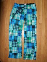 Aero blue green plaid patchwork pajama lounge pants