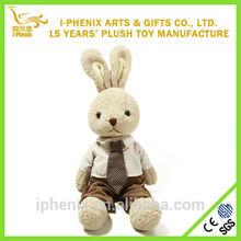 Hot design stuffed handsome plush rabbit children gifts sitting plush bunny rabbit