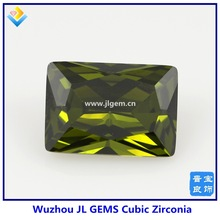 2014 New Products Olivine Rectangle shape Cubic Zirconia Stone For Dress Decoration