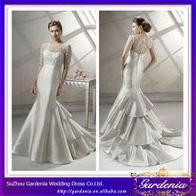 High Quality Elegant Mermaid Ivory Boat Neckline Plain Satin Three Quarter Sleeve Wedding Dress With Detachable Jacket (AB0537)