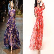 2014 Long Sleeve Floral Print Chiffon Long Maxi Dress for Women