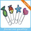 3d morbida gomma carino pvc segnalibro metallico con clip per i bambini
