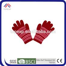 2014 ladies red stripe wool glove