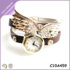 luxury diamond wrist watch gold angel wing charm bracelet watch