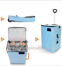 Nylon foldable laundry bag on wheels storage bag