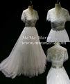 Cosecha de la boda vestido con piedras de cristal cordón desmontable manga vestido de novia byb-14564