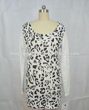 Spring u -neck white and black spot design fashion lady cute sweater knitwear