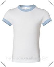 good quality custom design girl's 100% cotton white plain o neck t shirts with light blue rib