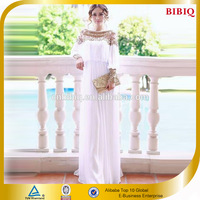 BBQ High End Beaded Chiffon Material White Dress Dubai Fashion Abaya 2014