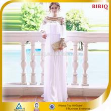BBQ High End Beaded Chiffon Material White Dress Dubai Fashion Abaya 2014