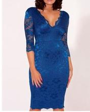 2014 yeni stil mavi derin v- boyun yarım kollu anne gelin dantel elbiseler