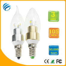 best after-sale service e14 aluminum round tail 3w led candle light dimmable 300lm candle led bulb light ce/rohs