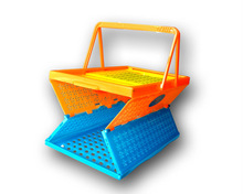 Unbreakable solid plastic store shopping baskets with handles