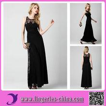 2014 Hot Sale Women Chiffon Evening Dress With Sleeves