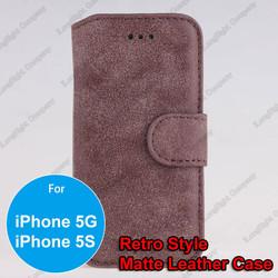 Luxury Men's Retro Matt Leather Flip-Open Wallet Case for iPhone 5 5S