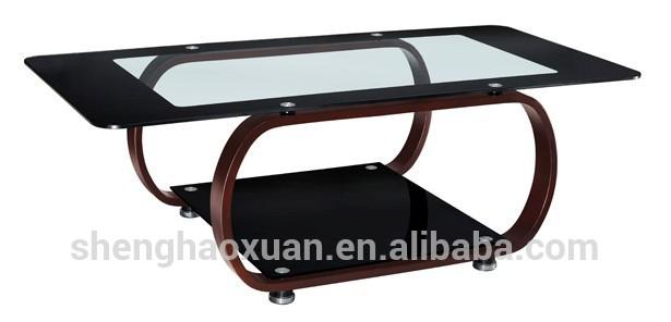 New Arrival Modern Design Glass Center Table Wooden Tea