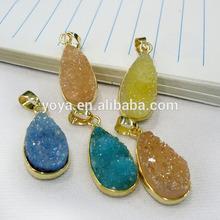 JF6514 Wholesale new style crystal druzy teardrop pendant,quartz druzy drop bezel setting pendant
