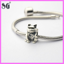 china bead manufacture Animals Plutus cat 925 silver beads charm bracelets and pendant fashion accessory