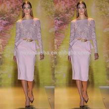 Vogue 2014 Pink Jewel Neck Long Sleeve Mid-Calf Chiffon Sheath Short Lace Evening Dress With Peplum Accent NB0625