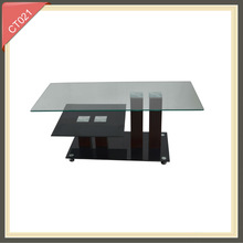 small round glass rustic wooden mechanism for lift up coffee table