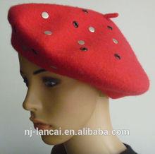 2014 moda feminina 100% lã boina vermelha com rebite