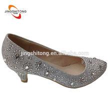 Close toe silver rhinestone bridal low heel wedding shoes