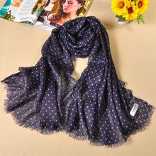 Wholesale fashion pashmina black and white polka dot scarf