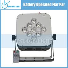 DJ Lighting 9 X 3W RGB LED Wireless Flat Par Light (Battery-Powered)