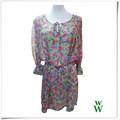 2014 de la moda de las señoras de largo mangas de diseño de tela de gasa blusas