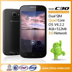 "C30 5"" Quad Core MTK6582 3G Dual Sim Unlocked Smartphones Cheap"