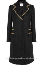 2015 woman classic coat long sleeves trech long coat custom designs ladies wool long winter coats