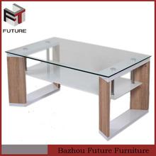 2015 hot sale High Gloss MDF glass modern coffee table