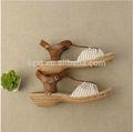 bohemia con estilo de moda de tacón sandalia de las señoras zapatos de rafia con cuerda de tacón de cuña de rayas de lona sandalia zapatos