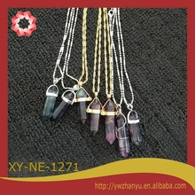 2014 fashion multi colors new design natural stone pendant necklace women jewelry