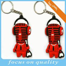 red and black music man 2d vinyl keyring plastic bag tags pvc gadget for promotion