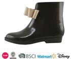 Football boots new short shiny woman wedge heel black dress shoes