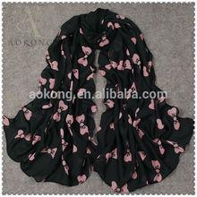 Aokong black and pink color bowknot printed silk feeling chiffon scarf