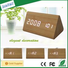 LED Fashion Clock Alarm Clock Battery Power Antique Wooden Desk Clock