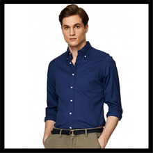 Good design and nice looking hot selling customize long sleeve wholesales mens blue shirts