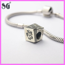 Rotating three laptops design 925 sterling silver plated for Jewelry beads bracelet bulk buy from china
