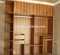 La couleur du grain de bois mdf mélaminé/aggloméré armoire porte coulissante, verre porte de la penderie, mobilier de chambre fixe