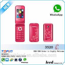 Nova chegada de baixo custo h3520 flip telefone móvel, telefone celular, telefon