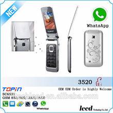 Chegada nova alta qualidade h3520 flip telefone móvel, telefone celular, telefon